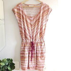 🦋 LOFT tan purple beach drawstring dress